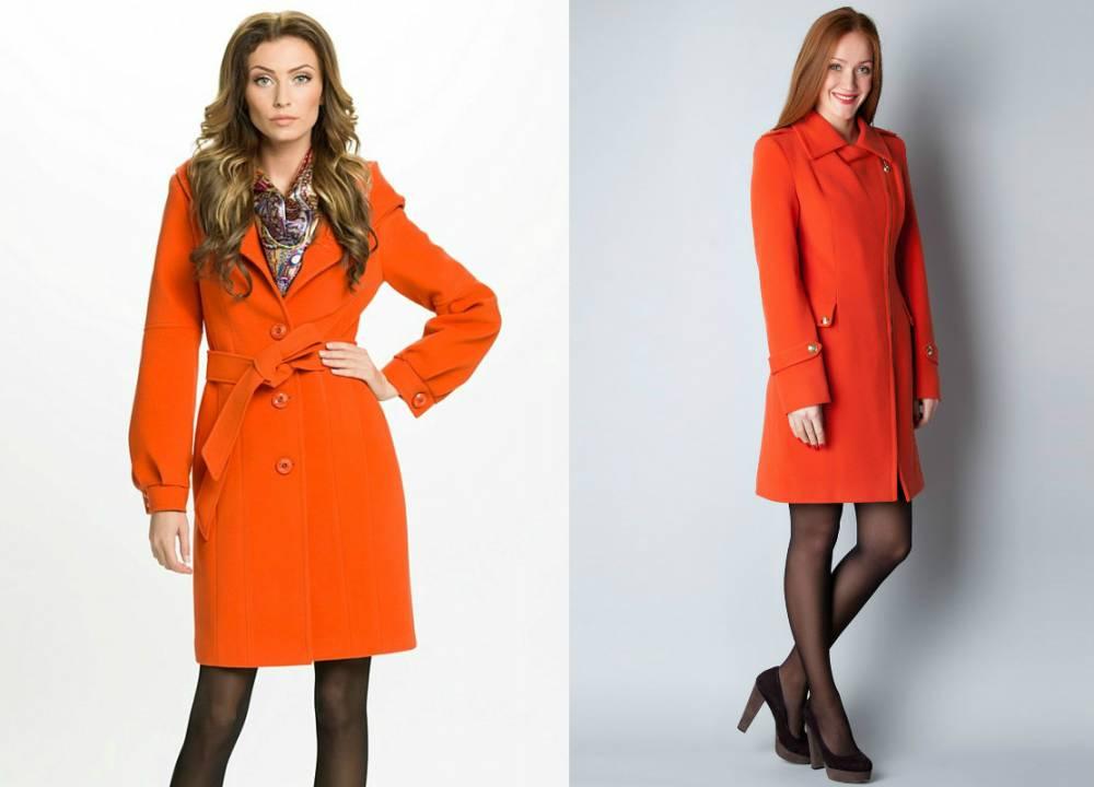 Оранжевое пальто до колена