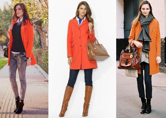 Модное оранжевое пальто