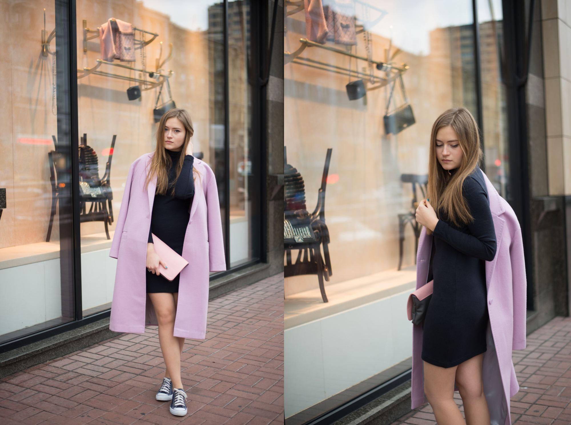 Розовое пальто с черным платьем