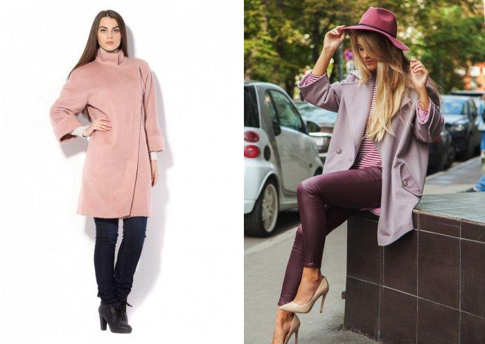Грязно-розовое пальто с брюками
