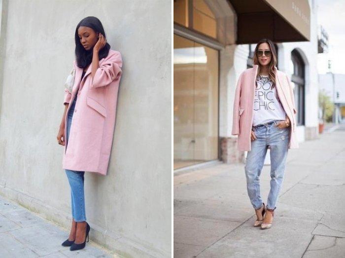 Розовое пальто с джинсами