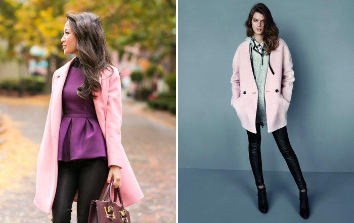 Розовое пальто с черными леггинсами