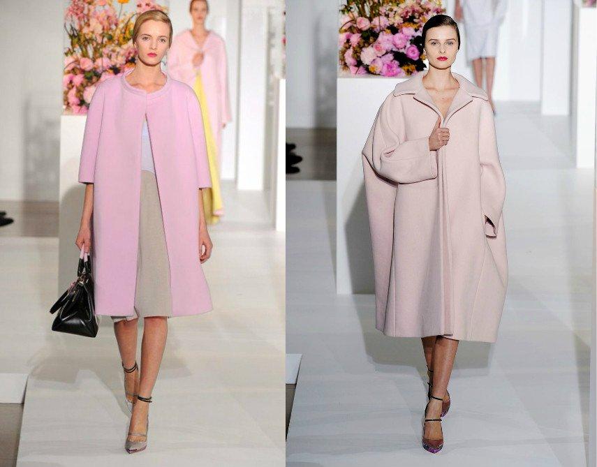 Розовое пальто стиля оверсайз