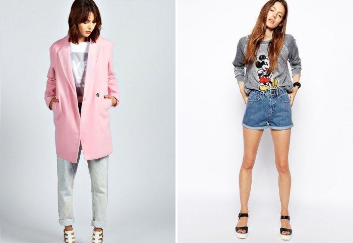 Розовое пальто с джинсовыми шортами