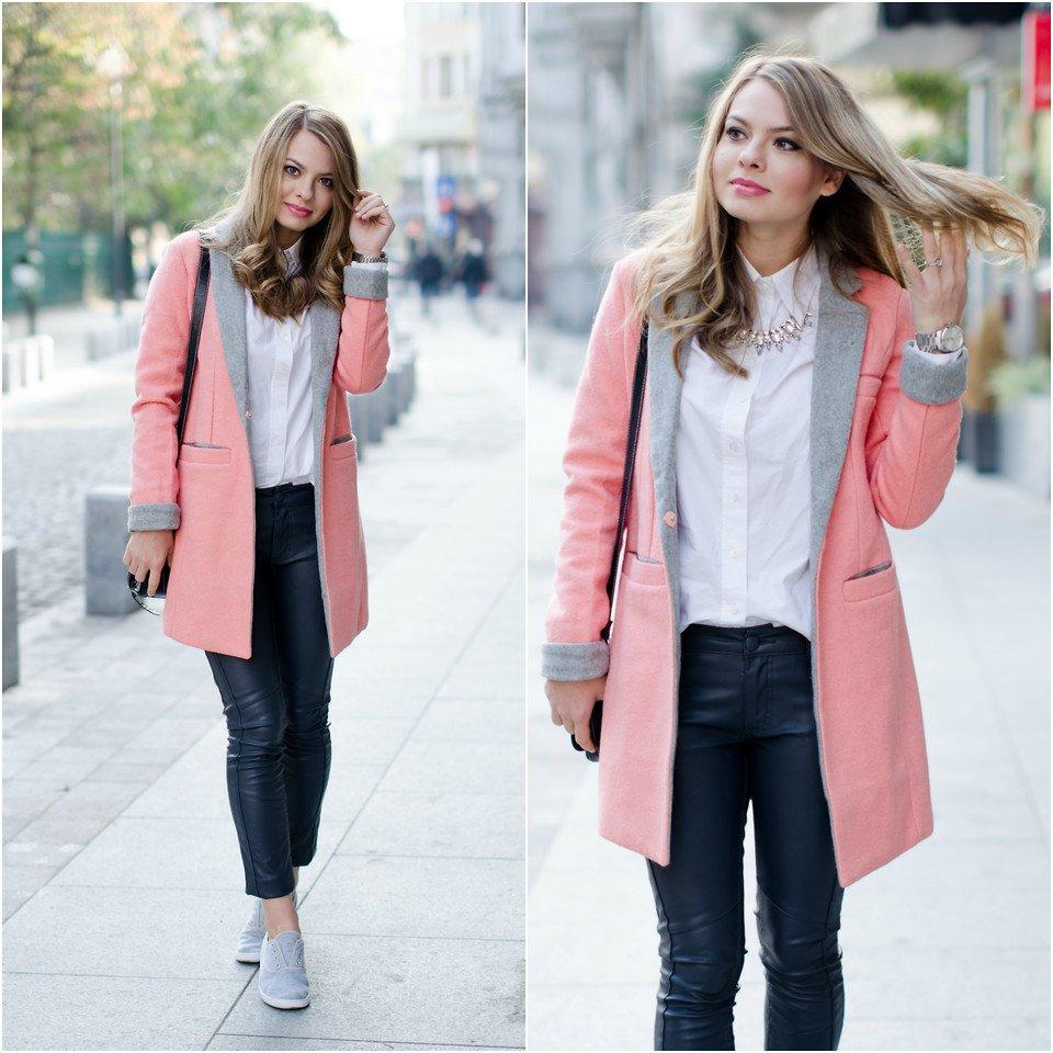 Нежно-розовое пальто в стиле кэжуал