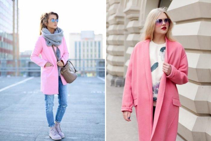 Розовое пальто с одеждой стиля кэжуал