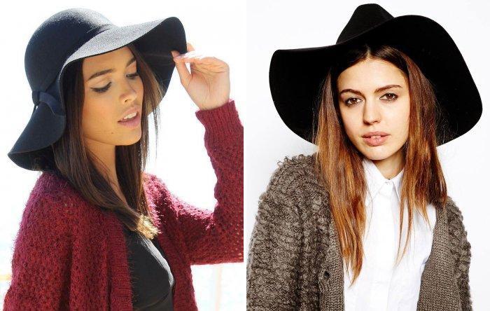 Черная фетровая шляпа в сочетании с розовым пальто