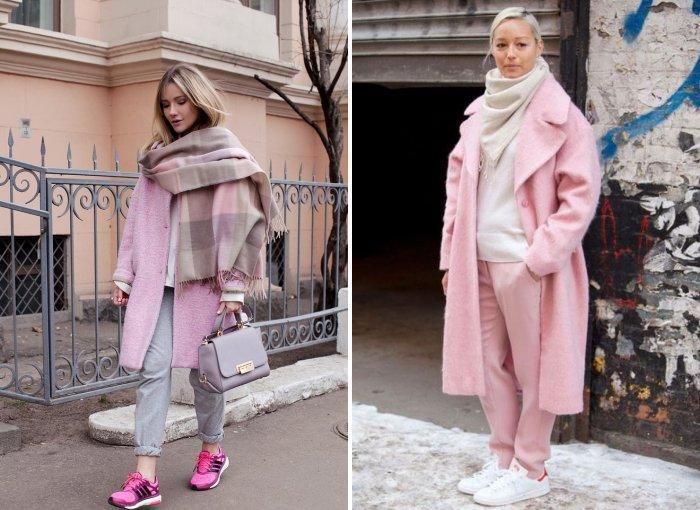 Розовое пальто с шарфом пастельных оттенков