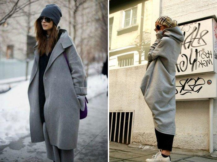 Серое пальто спортивного стиля