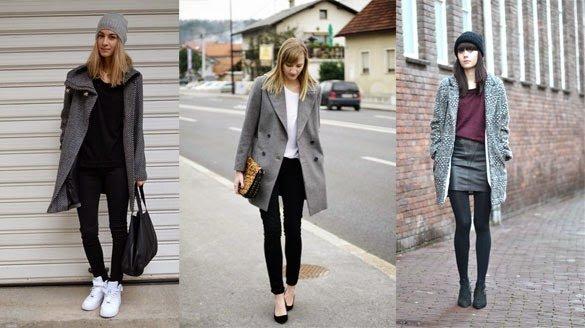 Серое пальто с туфлями на каблуке