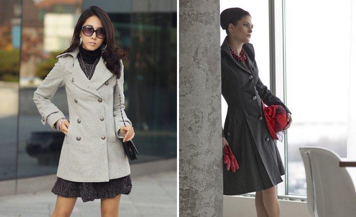 Серое приталенное пальто