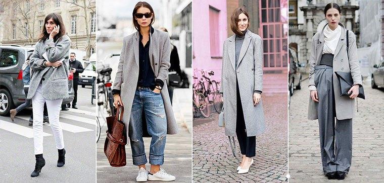 Серое пальто с обувью на низком ходу