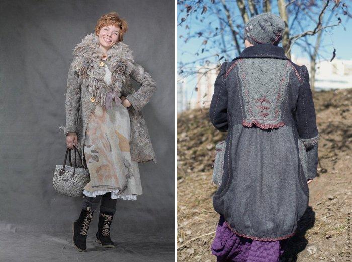 Серое пальто стиля бохо