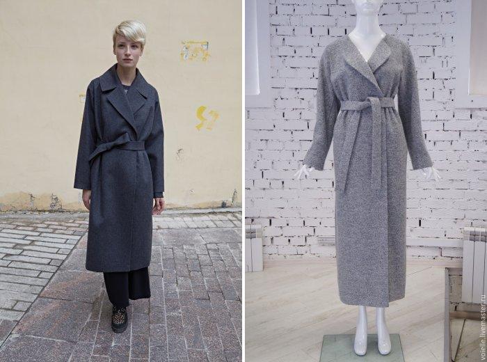 Серое пальто модели халат