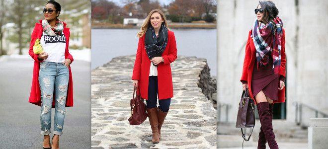 Шарф к красному пальто