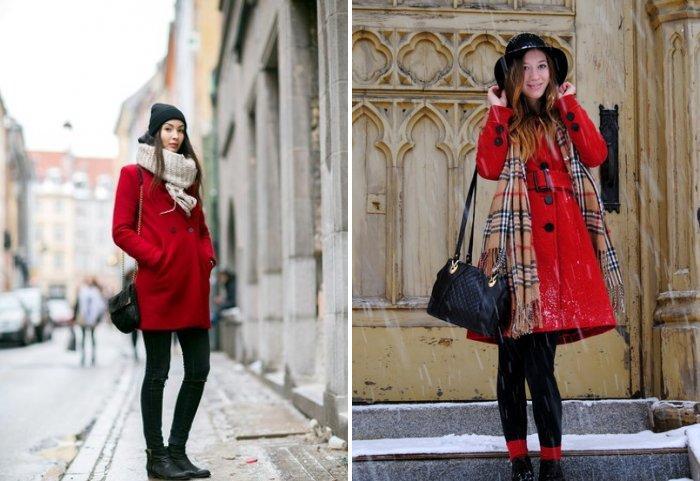 Стильный шарф к красному пальто