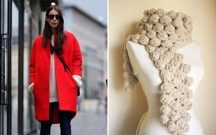 Бежевый шарф к красному пальто стиля оверсайз