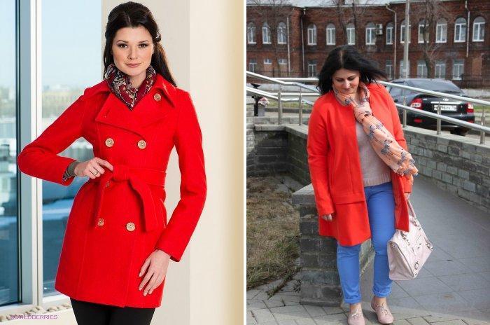 Модные шарфы к красному пальто
