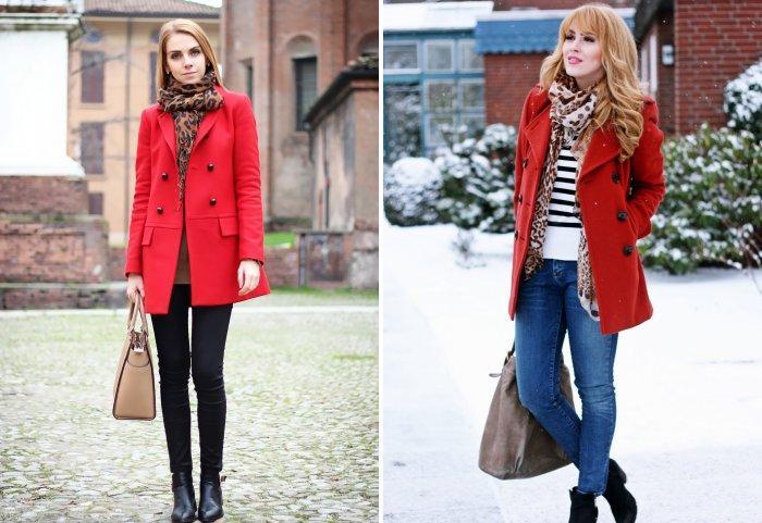 Леопардовый платок к красному пальто