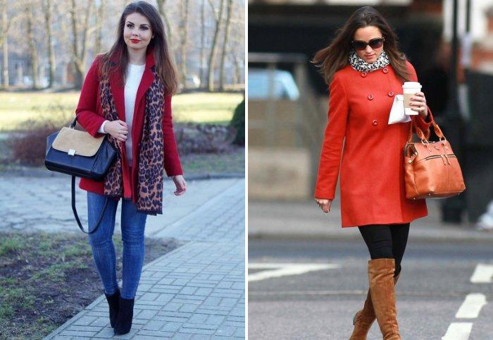 Леопардовый шарф к красному пальто