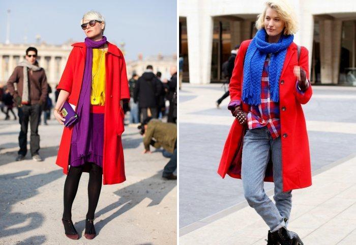 Яркие шарфы к красному пальто
