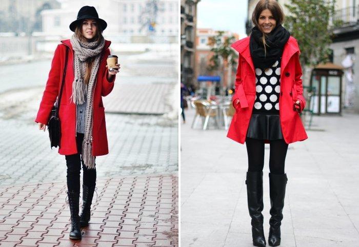 Шарфы крупной вязки к красному пальто