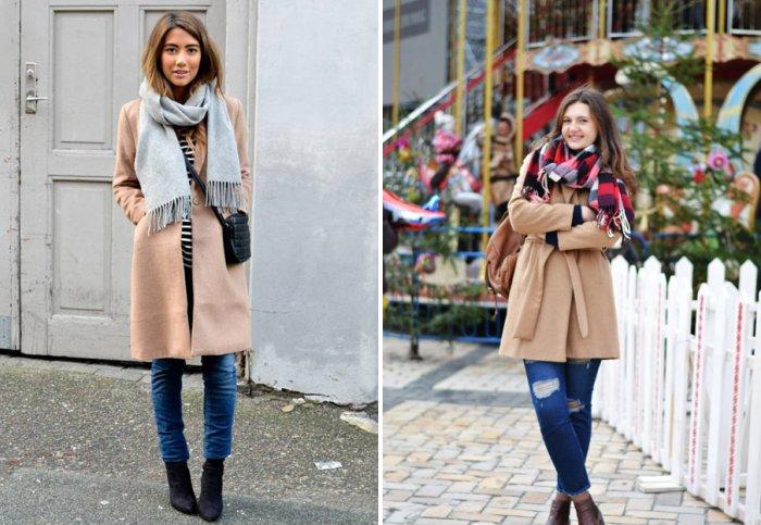 Бежевое пальто со стильным шарфом