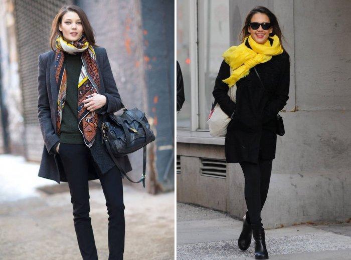 Пальто с ярким шарфом