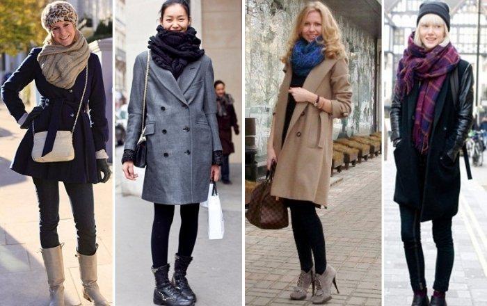 Модный шарф с пальто