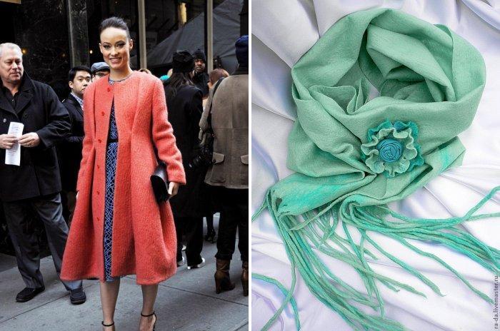 Коралловое пальто с мятным шарфом