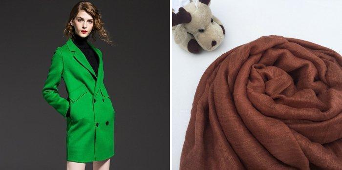Зеленое пальто с коричневым шарфом