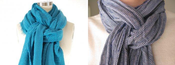 Длинный шарф завязанный двойной петлей