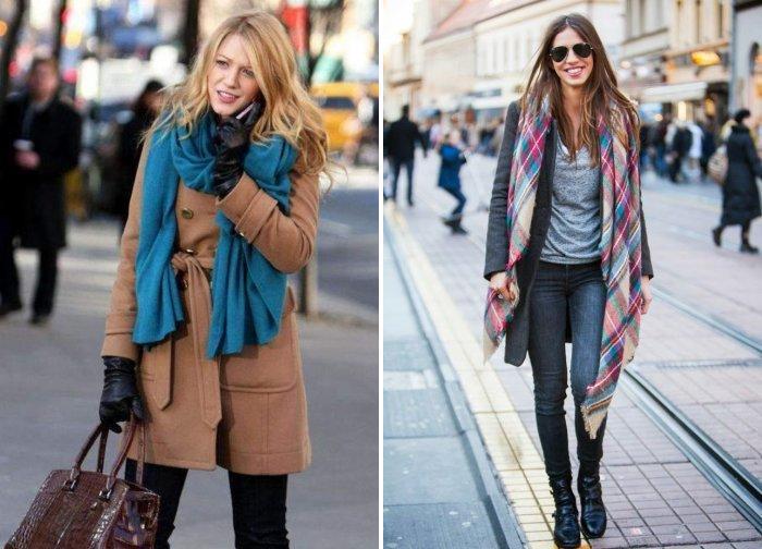Модный шарф с пальто пастельного оттенка