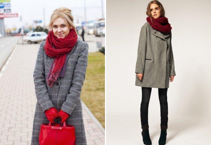 Серое пальто с ярким шарфом