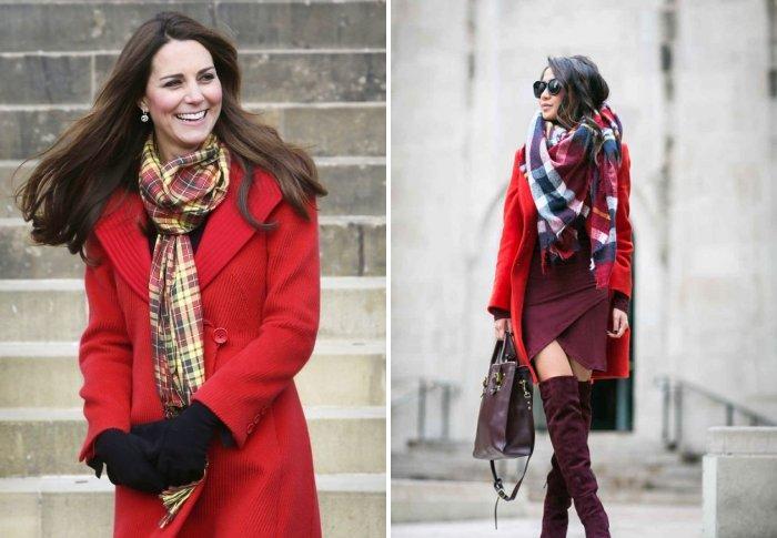 Модный шарф под красное пальто