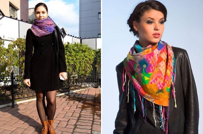 Модный шарф с мелким рисунком