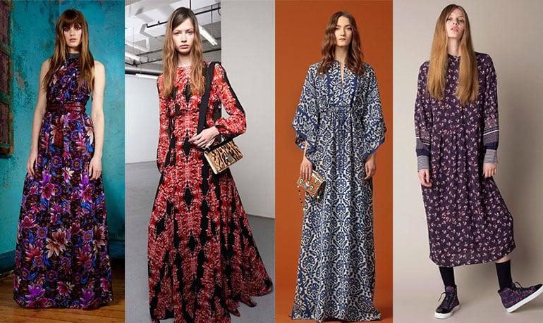 мода осень-зима 2017, платье бохо