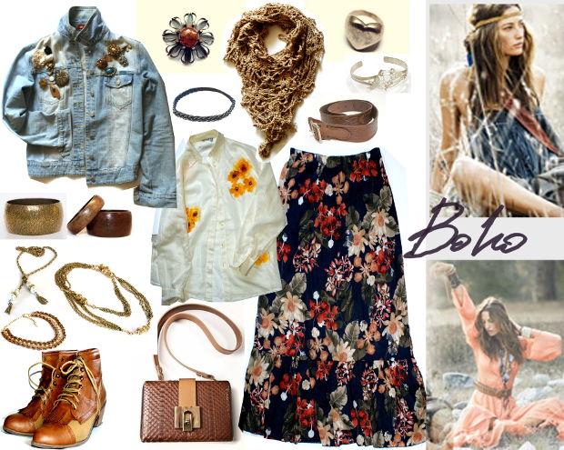 Сочетания в одежде для стиля бохо