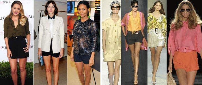 Шорты с высокой талией и шелковая блуза