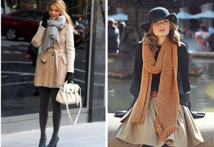 Красиво завязываем вязанный шарф
