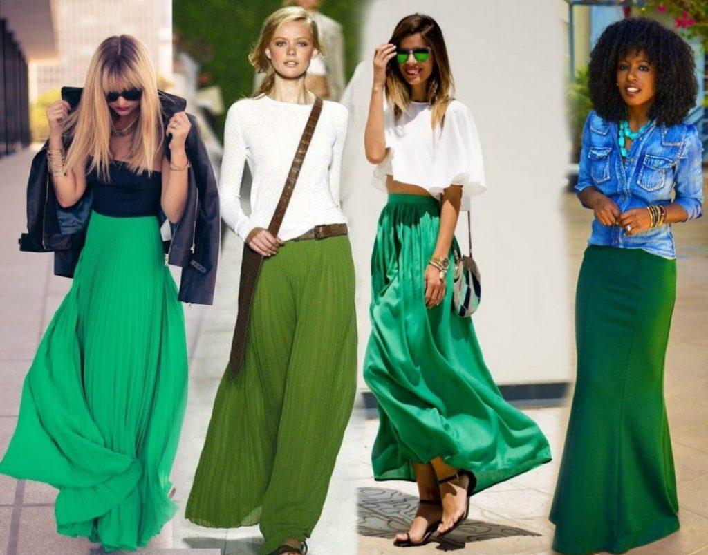 Зелёная длинная юбка с чем носить