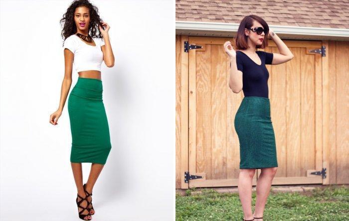Зеленая юбка карандаш с однотонным топом