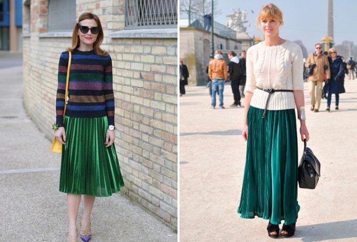 Плиссированная зеленая юбка со свитером