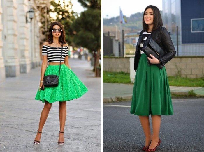 Зеленая юбка с тельняшкой