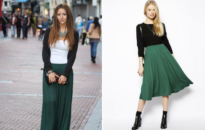 Длинная зеленая юбка с черным верхом