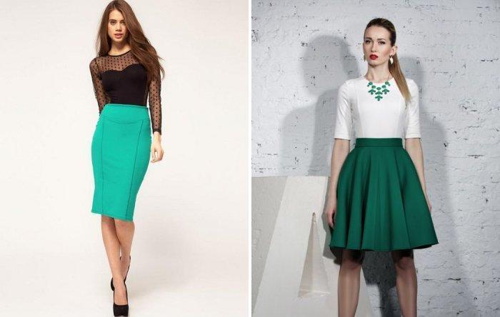 Зеленая юбка с классической блузой