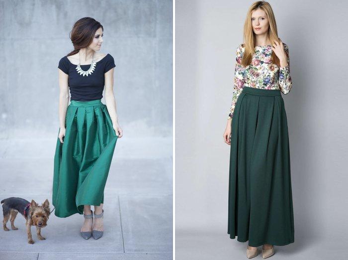 Длинная зеленая юбка с туфлями на каблуке