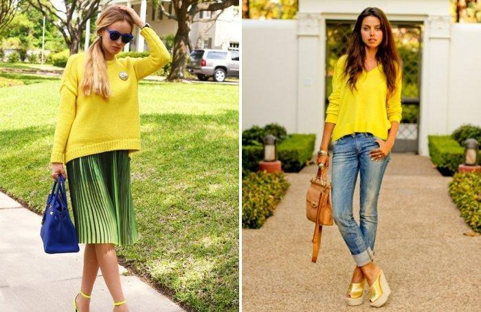 Желтый свитер с горчичным оттенком