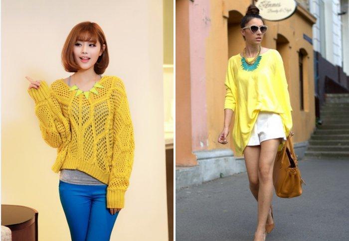 Свободный желтый свитер