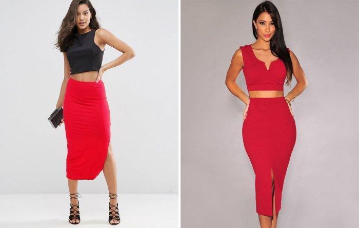 С чем носить красную юбку-карандаш?